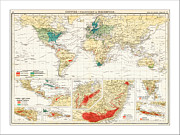 Flower Map Posters - World Map Poster by WaterColorMaps Chris and Mary Ann