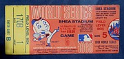 Sports Memorabilia Posters - WORLD SERIES TICKET Shea Stadium 1969 Poster by Melinda Saminski