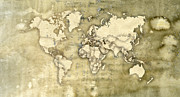 Parchment Framed Prints - Worn Paper World Map Framed Print by Hakon Soreide