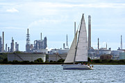 Terri Waters Framed Prints - Yacht Passing Fawley Framed Print by Terri  Waters