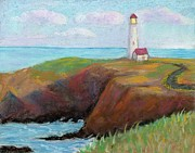 Lighthouse Pastels - Yaquina Head Lighthouse by Naomi Ball