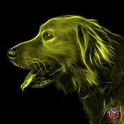 Retriever Digital Art - Yellow Golden Retriever - 4047 F by James Ahn
