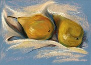 Life Pastels Acrylic Prints - Yellow Pears on Blue Paper Pastel Drawing Acrylic Print by MM Anderson