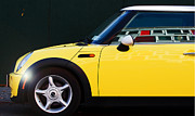 Mini Cooper Digital Art Posters - Yellow Urban Mini Poster by adSpice Studios