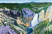 Fall  Of River Paintings - Yellowstone Falls by Timithy L Gordon