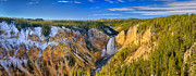 Yellowstone National Park Framed Prints - Yellowstone Grand Canyon Panorama From Lookout Point Framed Print by Greg Norrell