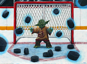 Hockey Painting Posters - Yoda Saves Everything Poster by Marlon Huynh