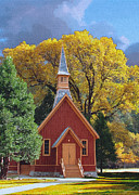 John Haldane Paintings - Yosemite Chapel by John Haldane