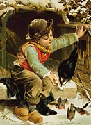English School - Young Boy with Birds in the Snow