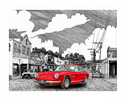Selective Coloring Art Prints - Your Ferrari in Tularosa N M  Print by Jack Pumphrey