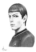 Star Drawings Posters - Zachary Quinto as Spock Poster by Murphy Elliott
