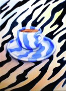 Frederick Painting Originals - Zebra Cup Coffee by Frederick   Luff  Gallery