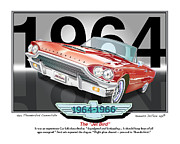 Icon Mixed Media Posters -  1964 Thunderbird Poster by Kenneth De Tore
