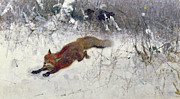 Bruno Andreas Liljefors -  Fox Being Chased through the Snow