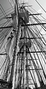 Old Ironsides Prints -  USS Constitution masts BW Print by Tim Mulina