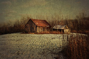 Weeds Photos - Abandoned barn after the first snow by Sandra Cunningham