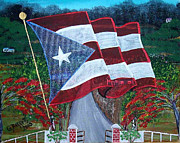 Puerto Rico Paintings - Bandera De Puerto Rico by Gloria E Barreto-Rodriguez