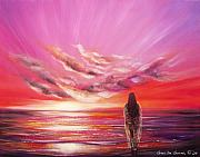 Sunsets Original Paintings - Beyond the Sunset  by Gina De Gorna