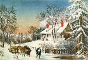 Currier and Ives - Bringing Home the Logs