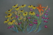 Lily Pastels Posters - Brown Eyed Susans and Lily Poster by Collette Hurst