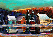 Beauty In The Winter Painting Framed Prints - Canadian Art Laurentian Landscape Quebec Winter Scene Framed Print by Carole Spandau