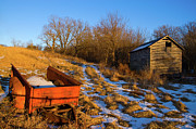Corn Crib Photo Posters - Corn Crib and Wagon Poster by Steve Stuller