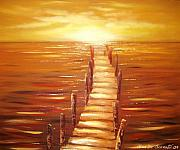 Sunsets Original Paintings - Escape by Gina De Gorna