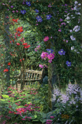 Original Oil  Doug Kreuger Paintings - Garden Respite by Doug Kreuger
