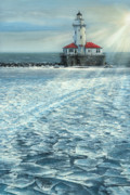 Original Oil  Doug Kreuger Paintings - Harbor Light by Doug Kreuger