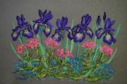 Botanical Pastels Posters - Iris and Pinks Poster by Collette Hurst