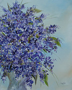 Flowers ..tags: Flowers Paintings - Lilacs by Judith Rhue