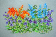 Botanical Pastels Posters - Lilies and Delphinium Poster by Collette Hurst