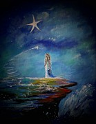 Constellations Painting Framed Prints - Little Wishes By The Sea Framed Print by Leslie Allen