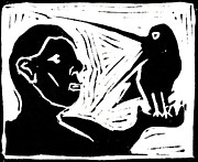 Lino Cut Portrait Prints - Man Holding a Bird Print by Edgeworth Johnstone