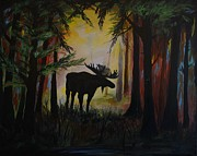 Cabin Wall Originals - Meadow Moose by Leslie Allen