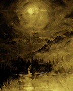 Deep Reflection Painting Posters - Moon Light Series in Amber Poster by Len Sodenkamp