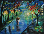 Couples Embracing Originals - Moonlight Stroll by Leslie Allen