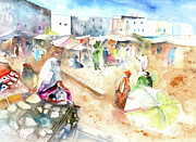 Moroccan Painting Framed Prints - Moroccan Market 01 Framed Print by Miki De Goodaboom