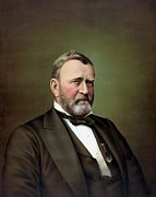 American Army Painting Framed Prints - President Ulysses S Grant Framed Print by War Is Hell Store