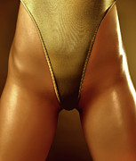 Suntanned Photos - Sexy Covered with Gold Woman in High Cut Swimsuit by Oleksiy Maksymenko