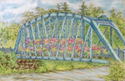 Bridge Pastels Prints - Simsbury Flower Bridge Print by Collette Hurst