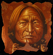 Period Painting Framed Prints - Sitting Bull Framed Print by Jurek Zamoyski