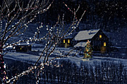 Decoration Art - Snowy winter scene of a cabin in distance  by Sandra Cunningham