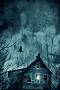 Mood Prints - Spooky house at sunset  Print by Sandra Cunningham