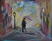 Couples Paintings - Taxis Coming Kiss Me by Leslie Allen