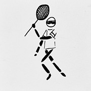 Racket Drawings Framed Prints - Tennis Guy Framed Print by Robin Lewis