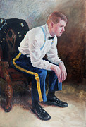 Suspenders Painting Posters - The Second Lieutenant Poster by Sandy Spring