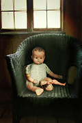 Chair Framed Prints - Vintage dolls on chair in dark room Framed Print by Sandra Cunningham