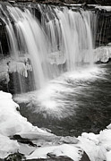 White River Scene Prints - Waterfall Mid Winter Thaw Print by John Stephens