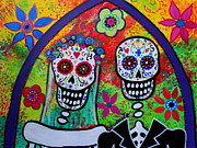Artist Paintings - Wedding Dia De Los Muertos by Pristine Cartera Turkus